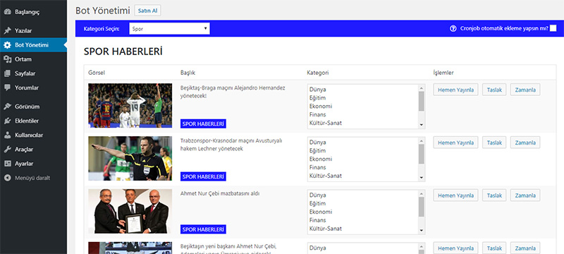 Wordpress Haber Botu (Manuel ve Otomatik)