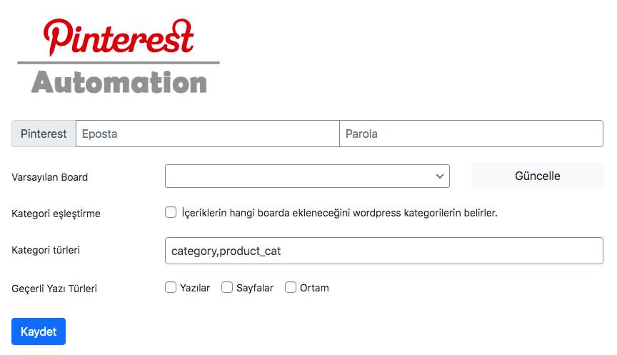 Wordpress Pinterest Eklentisi: Pinterest Automation